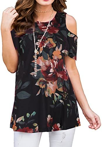 PrinStory Women s Short Sleeve Casual Cold Shoulder Tunic Tops Loose Blouse Shirts Floral Print product image