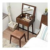 WWWFZS Juego de mesa de tocador de maquillaje, tocador de madera con cajones, elegante diseño de forma de perillas de cristal (color de tronco de una sola mesa)
