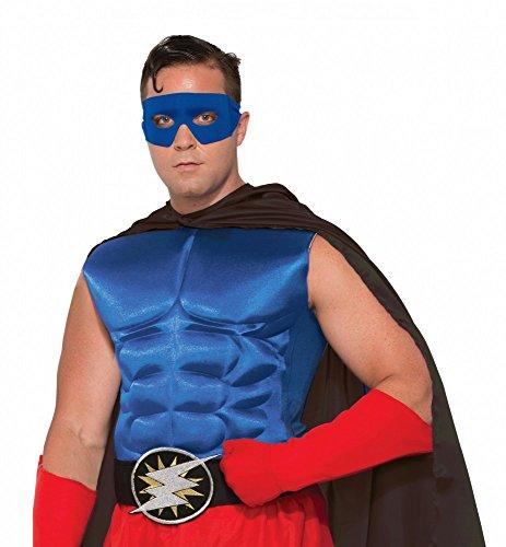Accessoires für Superhero Herren Kostüm, Muskelshirt Blau
