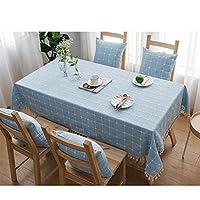 GX テーブルクロス- 刺繍タッセル小さな新鮮な長方形のテーブルクロス、北欧スタイルの非常に長いテーブルクロス,新しい (色 : Light blue, サイズ : 60*120cm)