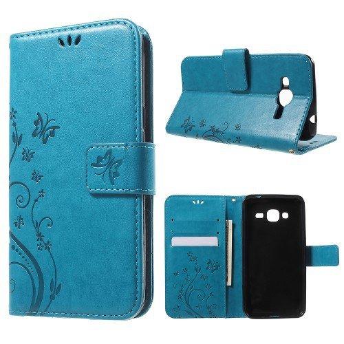 jbTec® Handy Hülle Case Schmetterlinge passend für Samsung Galaxy J3 / 2016 - Book Muster S16 - Schutz Tasche Smartphone Flip Cover Phone, Farbe:Türkis