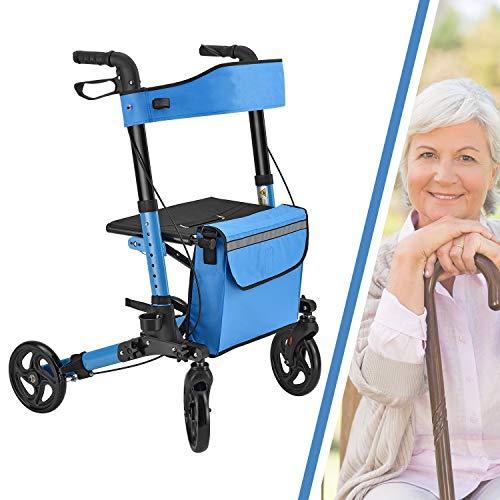 Juskys Aluminium Rollator Vital faltbar & leicht | 6-fach höhenverstellbar | Leichtgewichtrollator mit Sitz, Bremse und Tasche | 130 kg | petrol-blau