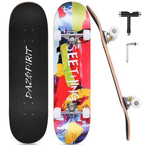 DazSpirit Skateboards, 31 x 8 Skateboard Completo de Doble Patada para Principiantes 7 Capas de Arce Monopatín Cóncavo para Niños y Niñas para Adolescentes y Adultos con Herramienta en T(Color)