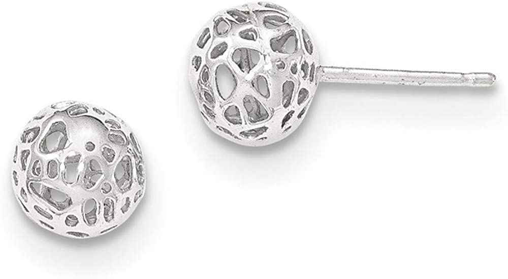Filigree Cut-Out Ball Post Stud Earrings in Real 14k Gold