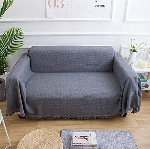WLVG Manta de algodón de punto de línea de algodón estilo americano manta de sofá cuatro estaciones universal funda de sofá 230 x 250 cm