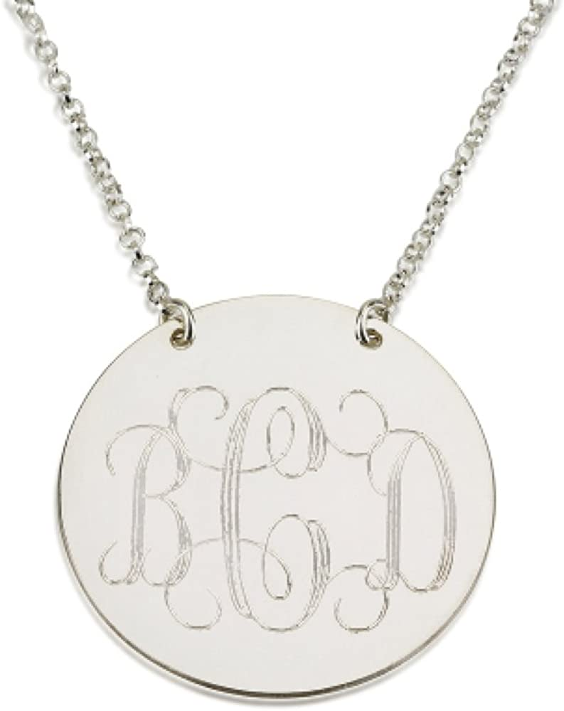 Sterling Silver Necklace Monogram Necklace Monogrammed Sterling Silver Necklace