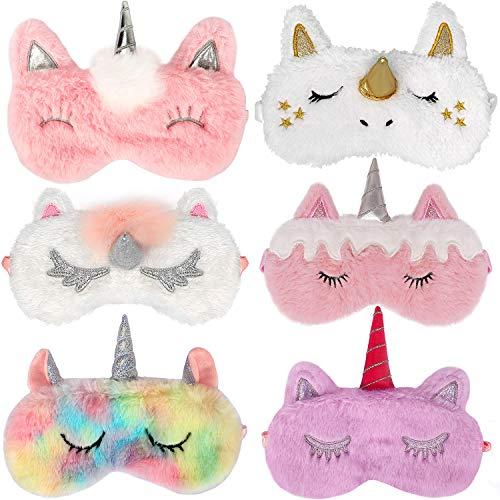 Bascolor 6 Pezzi Unicorno Mascherina per Dormire Maschera Sonno Occhi Unicorno Animali Carino Mascherina Notte per Donna Bambina Ragazza