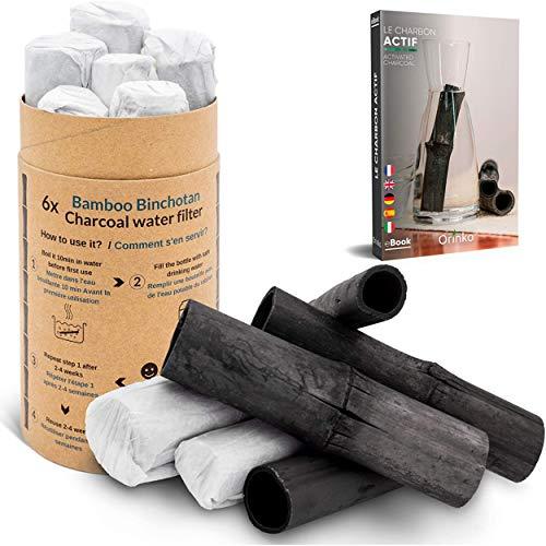 orinko Binchotan Bio 6X | Charbon Actif Binchotan de Bambou pour Purification d'eau en Carafe | Passez-Vous de l'eau en Bouteille Pendant 1 an avec Notre Charbon Végétal [Satisfait ou Rembourse]