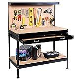 aHUMANs Multipurpose Workbench Workshop Tool Storage Tabletop Workstation Assembly Worktable with Sliding Organizer Drawer (Black)