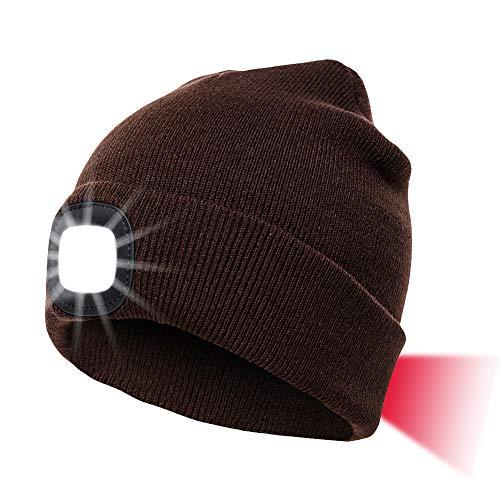 INHDBOX LED Mütze Kappe, Strickmütze mit USB Nachladbare Licht, Beleuchtung und blinkende Warnungs-Arten 8 LED, einfache Installation Vorne Hinten Scheinwerfer-Mütze, Unisex-Winterwärmer-Strickkappe