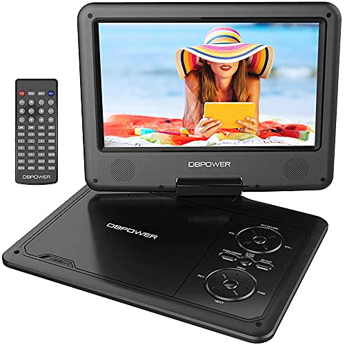DBPOWER 11.5'' Portable DVD Player with 9'' HD Swivel Screen, 5 Hours Rechargeable Battery, Support CD/DVD/SD Card/USB/Sync TV, Region Free, Black