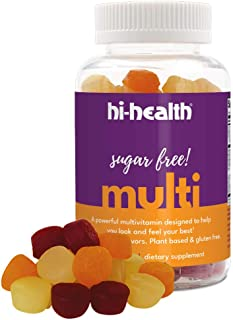 Hi-Health Sugar Free Gummy Multivitamin, Ketogenic Vitamin, Vitamin C, Vitamin D, Plant Based, Gluten-Free, Natural Delici...