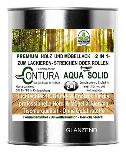 750ml. Holzlack Möbellack Klarlack 2 in 1 Grundierung + Lack Tischlerlack Versiegelung farblos für Kinderspeilzeug (GLÄNZEND)