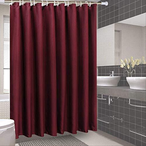 YALINA Weiße Hotel-duschvorhangplane, Badezimmertrennwand, Schimmelresistenter Vorhang, Dickerer Duschvorhang 200x200cm Weinrot