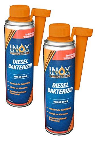 INOX Diesel Bakterizid, 2 x 250ml - Desinfección de aditivos para Sistemas de gasóleo, automóviles y gasóleo de calefacción