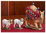 Juego de 3 figuras de belén de camello arillado y dos ovejas Awassi, escala de 10 pulgadas