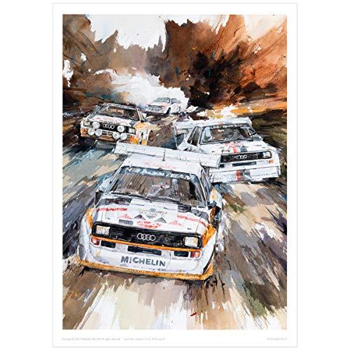 MINSEOK Aquarell-Auto-Poster, Raumdekoration, A3, Kunstdruck, Motiv: Altes Auto, perfektes Auto-Wandkunst, Geschenk, dynamische Rallye-Sportwagen