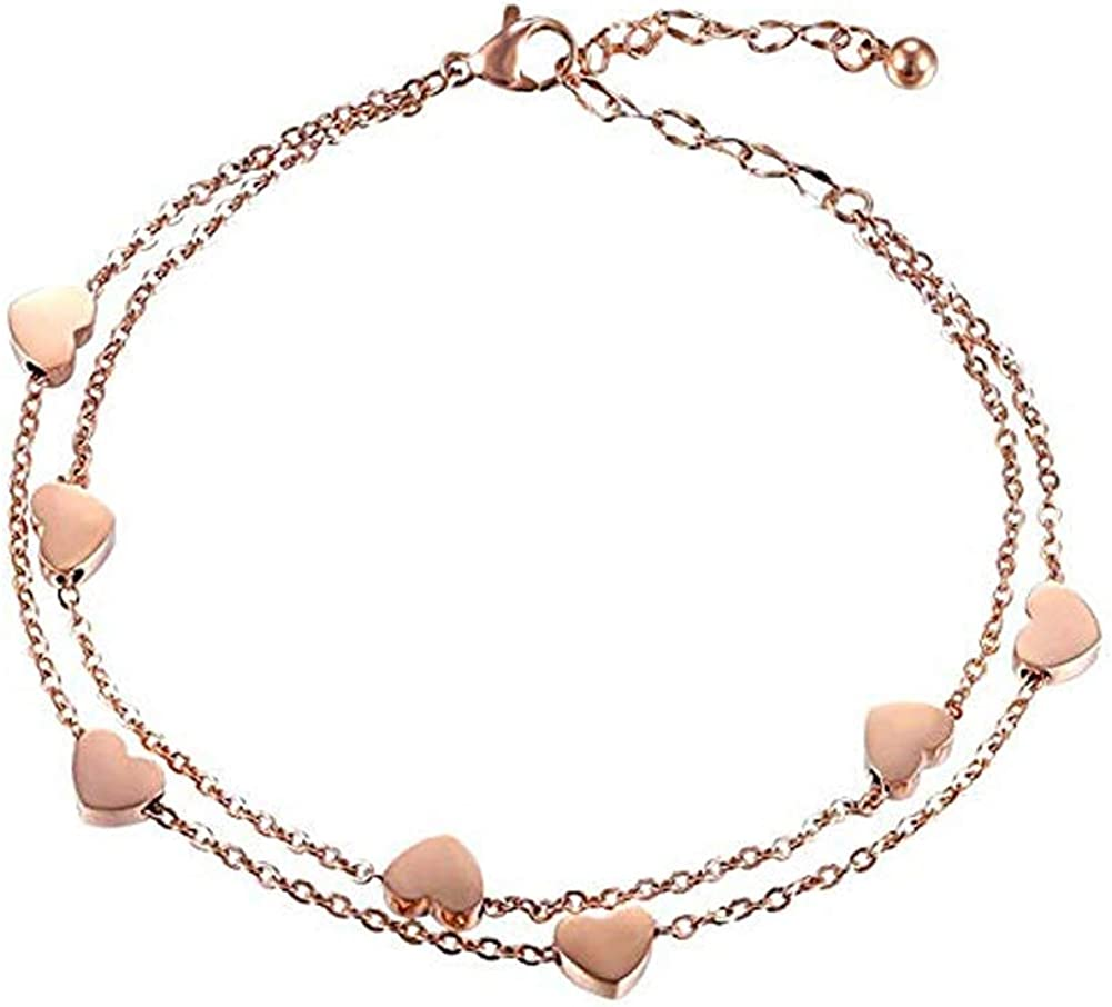 MileHouse Fashion Bangle Bracelet for Women Girls,Fashion Alloy Heart Charm Dual Layer Chain Bracelet Party Gift - Golden#