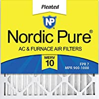 Nordic Pure 25x25x2 MERV 10 Pleated AC Furnace Air Filter, Box of 3 by Nordic Pure