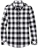 Souactimuy Womens Flannel Shirt Long Sleeve Casual Plaid Regular Fit Button Down White