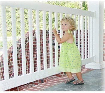 KidKusion Deck Guard - 16' L x 40 H - Made in USA - Outdoor Balcony and Stairway Deck Rail Safety Net - Clear - Child...