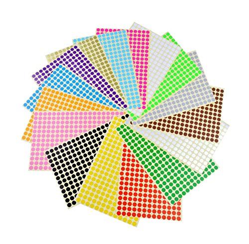 Yongbest Runde Punktaufkleber,8mm Aufkleber Bunte Punkte Farbige Farbkodierung Etiketten für Heimbüroartikel,16