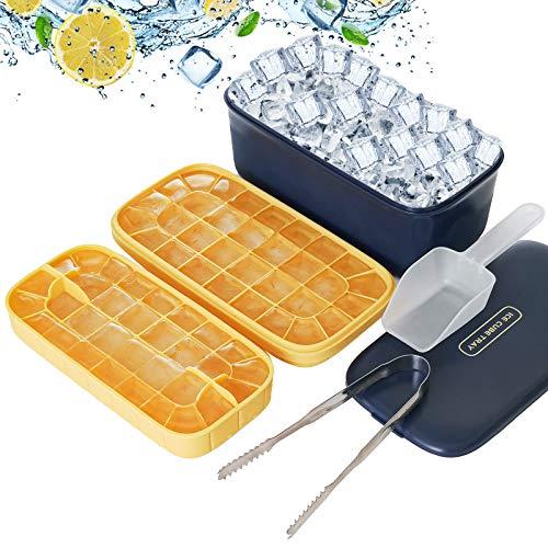 HOTUCG Eiswürfelbox, Ice Cube Tray, Eisbox mit Deckel Eiswürfelform Silikon Kunststoff Eiswürfelbehälter Doppelschicht Eiswürfelschale Eiswürfel Form für Getränke, Saft, Süßigkeiten, Wein, 64 Fach