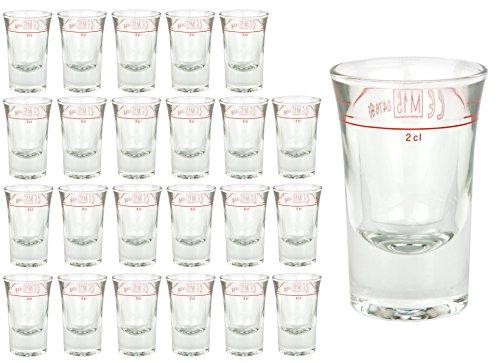 24er Set Schnapsglas DUBLINO mit Eichstrich, 2 cl, geeicht, Spirituosenglas mit Füllstrich, Stamper, Shot Glas, hochglänzendes Markenglas, glasklar