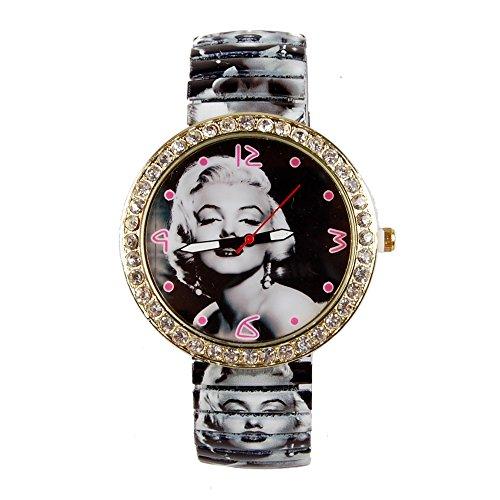OUYAWEI Watch Women`s Fashion Marilyn Monroe with Rhinestone Pattern Style Metal Spring Band Wrist Watch