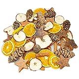 NaDeco Weihnachts-Potpourri, Gewicht 250g Advents- und Weihnachtsdekoration mit Zimtstangen, Orangenscheiben, Apfelscheiben, Tannenzapfen und Kokossternen
