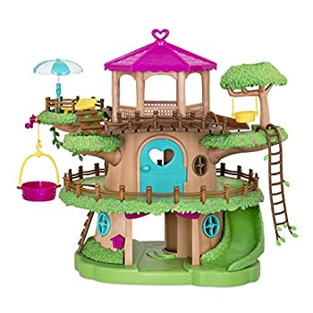 Li'l Woodzeez Family Treehouse with Crank Elevator – 22pc Playset with Ladders Slides and Stairs – Toy Houses and Playsets – Gifts for Kids Age 3+