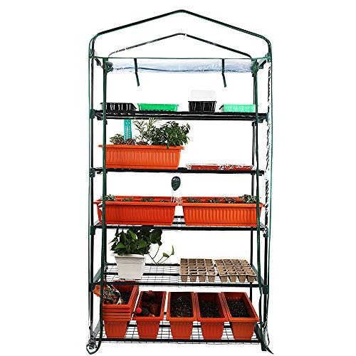 Worth Garden 50% Extra Wide Mini Greenhouse 5 Tier Portable Plant Tower greenhouses - Indoor and...