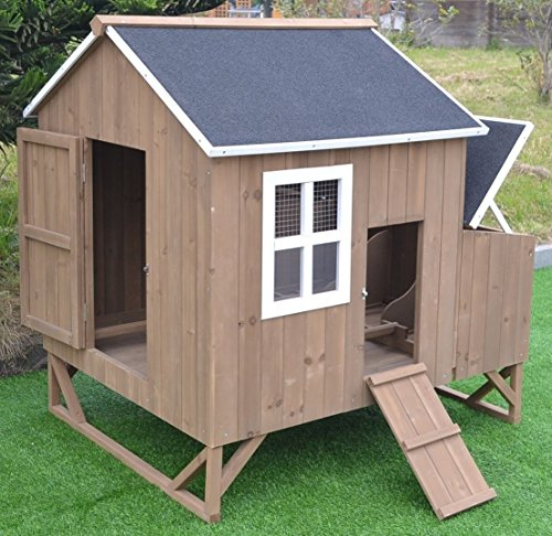Omitree Deluxe Large Wood Chicken Coop Backyard Hen House 4-8 Chickens with 3 Nesting Box
