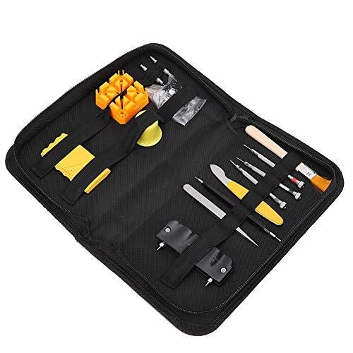 Juego de herramientas para reparación de relojes, abridor profesional de la caja trasera de la cubierta del reloj con junta tórica a prueba de agua, juego de herramientas de barra de resorte para quit