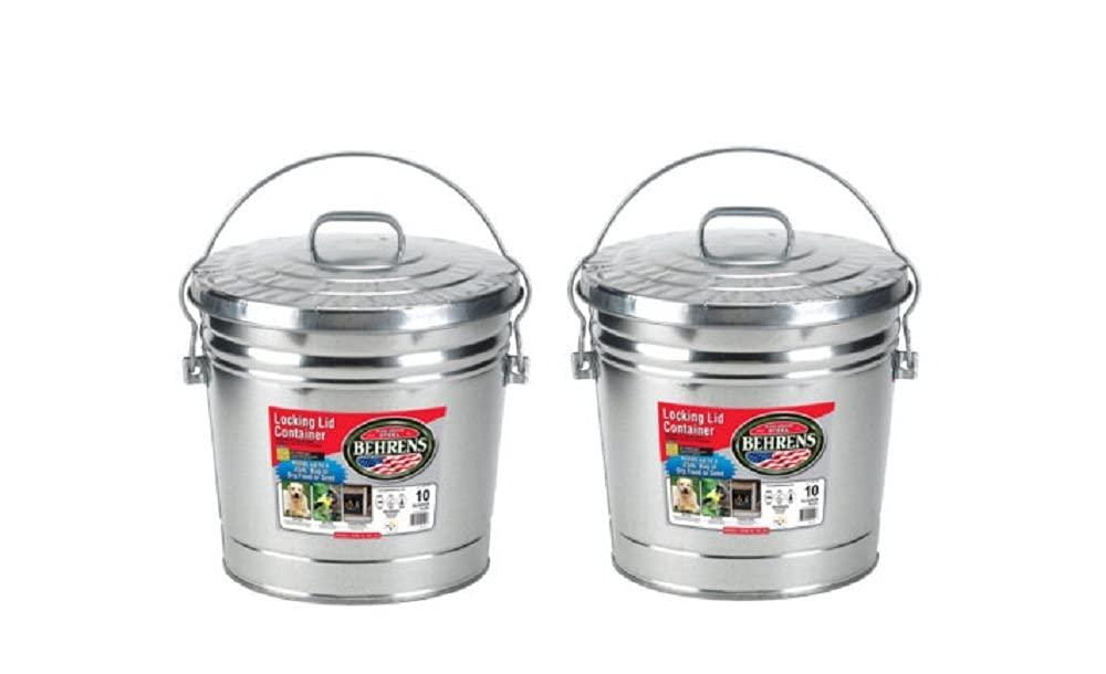 BEHRENS 10 Gallon Steel Locking Lid Trash Can (2 Pack) Made in U