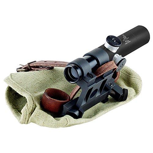 BERING OPTICS Russian 3.5x20 PU Scope with Solid Steel Mosin-Nagant Rifle Mount, Black