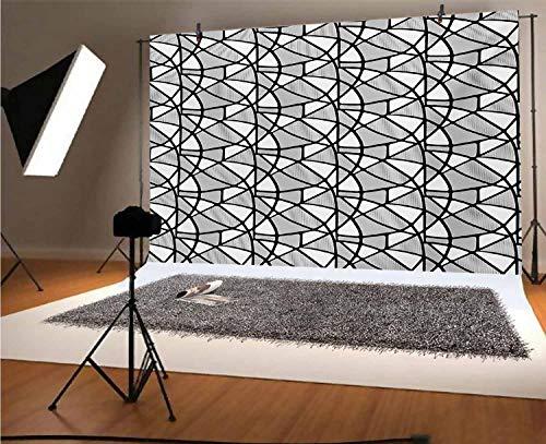 Fondo fotográfico de vinilo blanco y negro de 10 x 8 pies, diseño geométrico con diseño abstracto de líneas gruesas y delgadas, fondo de azulejo para bebé, cumpleaños, boda, estudio, fotografía.