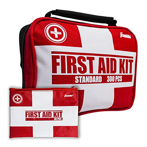 Franklin Sports Sideline 2-in-1 Team Sports First Aid Kit (300 Piece) + Bonus 30-Piece Mini First Aid Kit - Compact for Home, On The Field, Outdoors, Car, Camping, Workplace, Hiking - FDA Approved