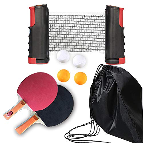 Great Deal! YG-T Ping Pong Paddles Sets, Retractable Table Tennis Nets with 2 Bats and 3 Balls - Kid...