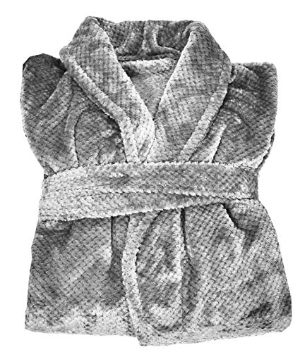 UNIVERS-DECOR - Albornoz con cuello chal (efecto nido de abeja, 240 gr/m2 Maya Vent du sur (plata), diseño de nido de abeja, color plateado
