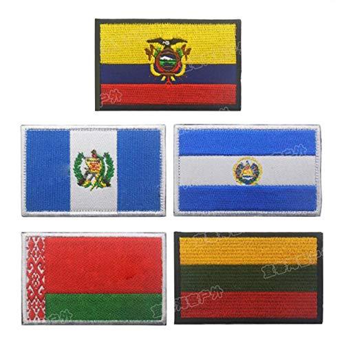 BLOUR Ropa Mochila Insignia Bordada Bandera Europea Pegatina Armas Ecuador Guatemala Salvador Tela Personalidad Diseñador Gancho Anillo