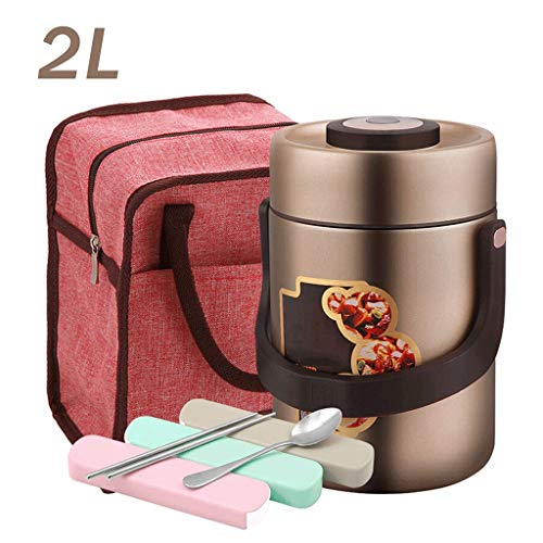 SHYPT Food Thermos, vakuumisolierte Edelstahl Lunch Thermos mit Luch-Tasche, Brotdose mit Griff Deckel, Leak Proof Doppelwand-Vakuum-Insulated Soup Container (Color : A, Size : 1.7L)