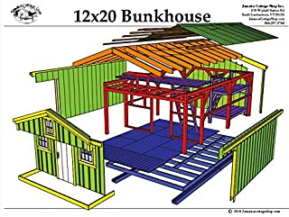 Step-By-Step DIY PLANS - Timber Frame Post and Beam Cabin Plans - 12x20 Bunk House with Bunk Beds and Loft - Camping Cabin, Guesthouse, or Playhouse - Step-by-Step Instrucitons 12x20