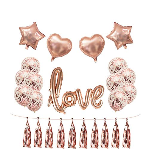 shenlanyu Party balloons Rose Gold Wedding Birthday Party Balloons Happy Birthday Letter Foil Balloon Baby Shower Anniversary Event Party Decor Supplies loveset1