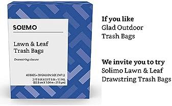 Amazon Brand - Solimo Lawn & Leaf Drawstring Trash Bags, 39 Gallon, 40 Count