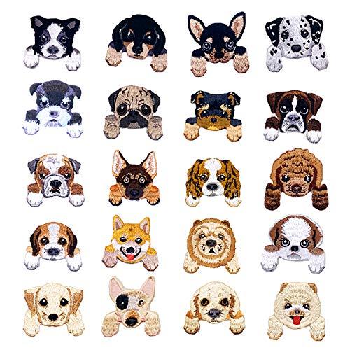 Woohome Hund Patches zum Aufbügeln, 20 Stück Patch Sticker für Kleidung Blumen Aufnäher Applikation Flicken Zum Aufbügeln Kinder Patches für für DIY T-Shirt Jeans Kleidung Taschen
