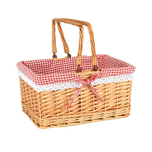 ZHIQ Willow Picnic Basket Hamper with Double Handles Lid Woven Handmade Halloween Costume Wicker Drop Down Handles Gift Storage Box Easter Basket for Camping Shopping