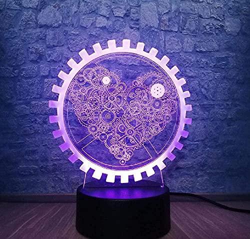 Romántico 3D Innovador Gadget Mecánico Engranaje Amor Noche Luz Ambiente Mesa LED Lámpara Colorido Ilusión Humor Regalo decorativo