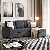 JY QAQA Convertible Sectional Sofa Couch with 3-Seat Sofa, L-Shaped Ottoman Couch with Modern Linen Fabric for Small Living Room, Apartment and Small Space (Dark Grey)
