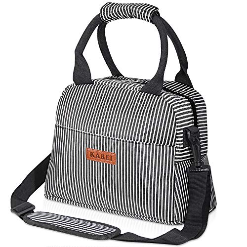 Insulated Lunch Bag for Women Man Kids, Lunch Tote Bag with Adjustable Shoulder Strap Leakproof Lunch Box for Office, Work, School, Picnic Hiking Beach (Stripe)